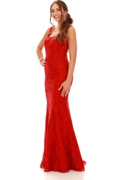 Carmen Kırmızı Dantel Kare Yaka Uzun Abiye Elbise