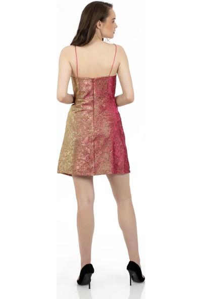 Carmen Fuşya Jakar Askılı Kısa Abiye Elbise