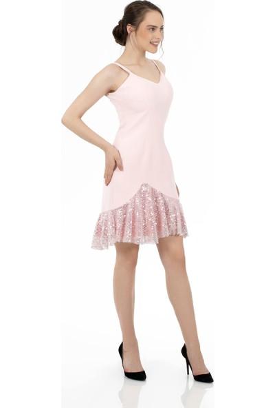 Carmen Pembe Krep Eteği Payetli Kısa Abiye Elbise