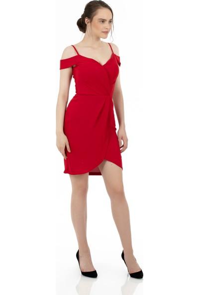 Carmen Kırmızı Krep Askılı Kruvaze Kısa Abiye Elbise