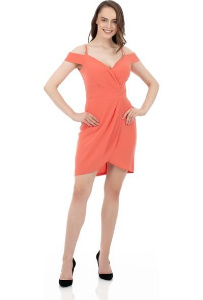 Carmen Somon Krep Askılı Kruvaze Kısa Abiye Elbise