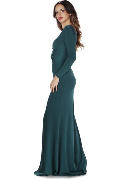 Carmen Yeşil İthal Krep Uzun Kollu Abiye Elbise