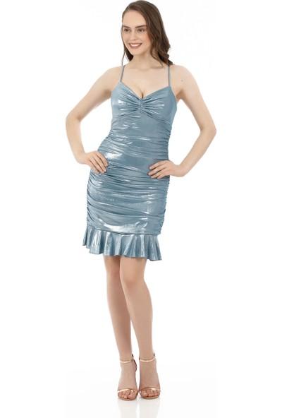 6ixty8ight Mint Laklı Şifon Drapeli Kısa Abiye Elbise