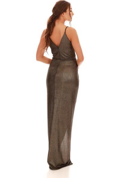 Carmen Bakır Laklı Şifon Kruvaze Yırtmaçlı Abiye Elbise