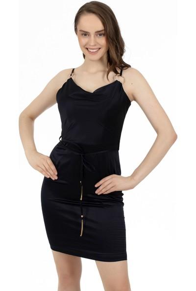 6ixty8ight Siyah Saten Askıları Tokalı Kısa Abiye Elbise