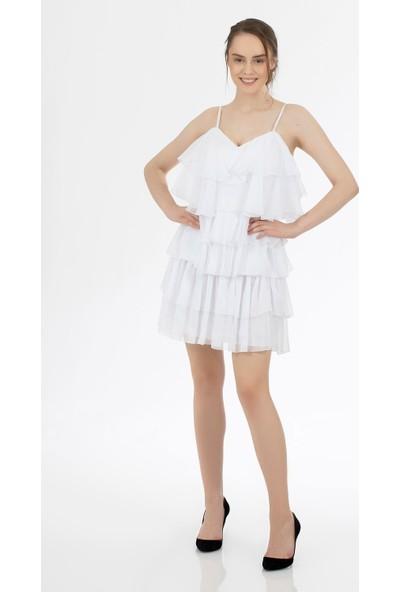 Carmen Ekru Şifon KatKatlı JanJan Kısa Abiye Elbise