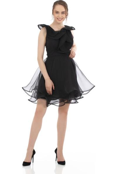 Carmen Siyah Organze Kısa Abiye Elbise