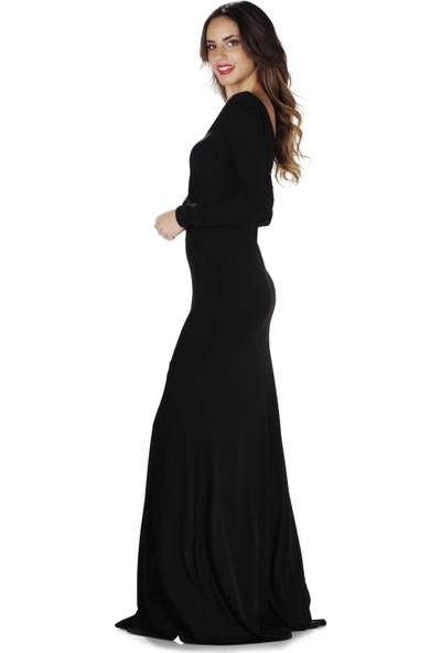 Carmen Siyah İthal Krep Uzun Kollu Abiye Elbise