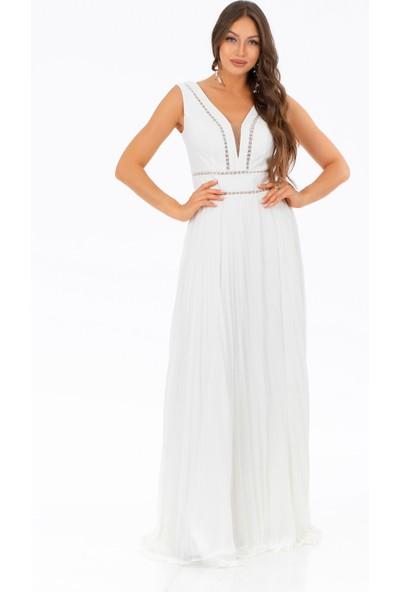 Carmen Ekru Şerit Dantel Piliseli Uzun Abiye Elbise