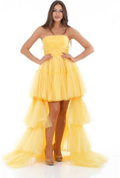 Carmen Sarı Tül Fırfırlı Uzun Abiye Elbise
