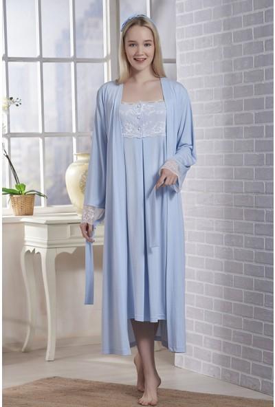 Emose Dantelli Kadın Lohusa Gecelik Sabahlık Mavi
