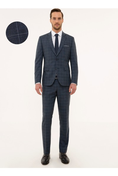 Pierre Cardin Ekose Lacivert Slim Fit Takım Elbise 50230048-VR033