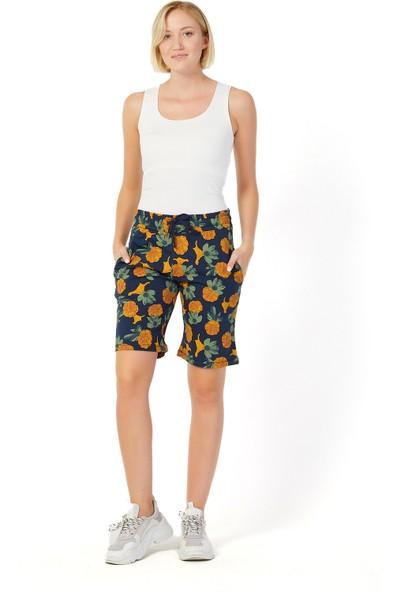Twenty3 Kadın Basic Uzun Örme Desenli Şort-Bermuda