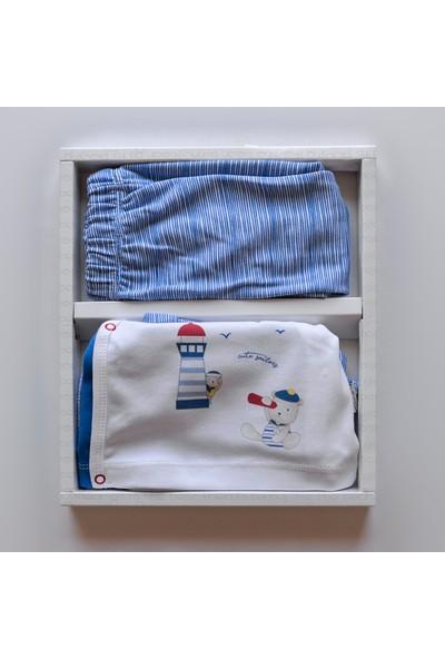 Bebitof Denizci Ayıcık Figürlü Erkek Bebek 5'li Yenidoğan Zıbın Mevlüt Seti