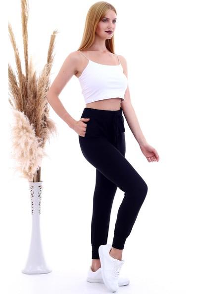 Cotton Mood 20060630 Çilek Beli Paçası Ribanalı Kurdelalı Pantolon Siyah