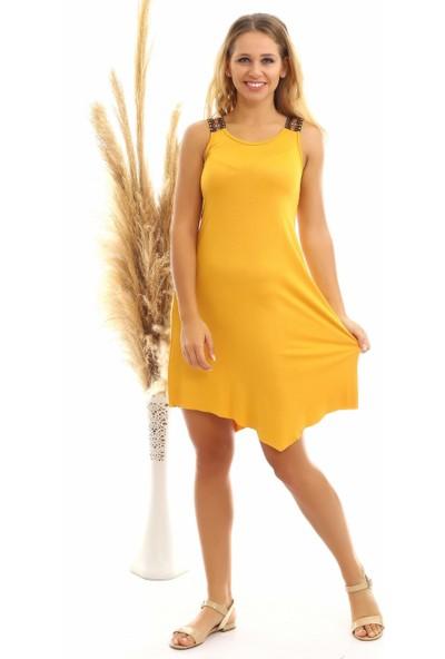 Miss Lusi 20060631 Viskon Omuzu Etnik Şeritli Kolsuz Elbise Hardal