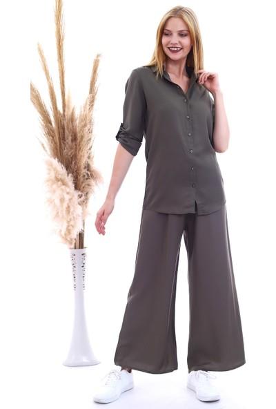Cotton Mood 20061005 Dok.viskon Beli Lastikli Bol Paça Pantolon Hakı