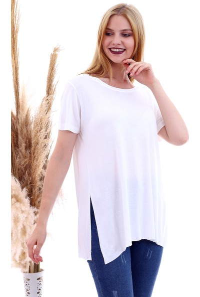Cotton Mood 20061174 Viskon Bis.yaka Yanı Yırtmaçlı Kısa Kol T-Shirt Ekru