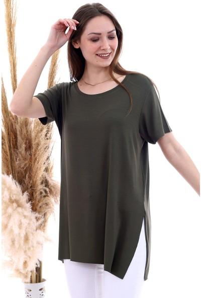 Cotton Mood 20061174 Viskon Bis.yaka Yanı Yırtmaçlı Kısa Kol T-Shirt Hakı