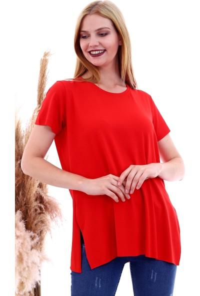 Cotton Mood 20061174 Viskon Bis.yaka Yanı Yırtmaçlı Kısa Kol T-Shirt Kırmızı