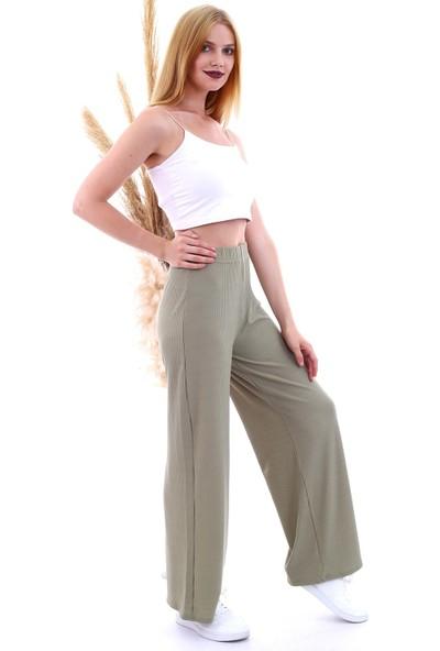 Cotton Mood 20061220 Kaşkorse Beli Lastikli Bol Paça Pantolon Çağla Yeşil