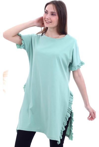 Cotton Mood 20063351 Süprem Yanları ve Kolu Fırfırlı Uzun T-Shirt Çağla Yeşil