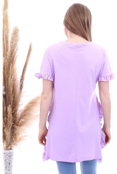 Cotton Mood 20063351 Süprem Yanları ve Kolu Fırfırlı Uzun T-Shirt Lıla