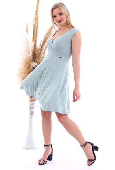 Miss Lusi 20070781 Örme Krep Eteği Pliseli Kruvaze Yaka Kolsuz Elbise Çağla Yeşil
