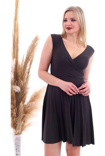 Miss Lusi 20070781 Örme Krep Eteği Pliseli Kruvaze Yaka Kolsuz Elbise Hakı