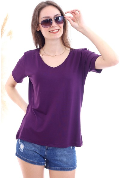 Cotton Mood 7050466 V Yaka Boyfriend T-Shirt Murdum