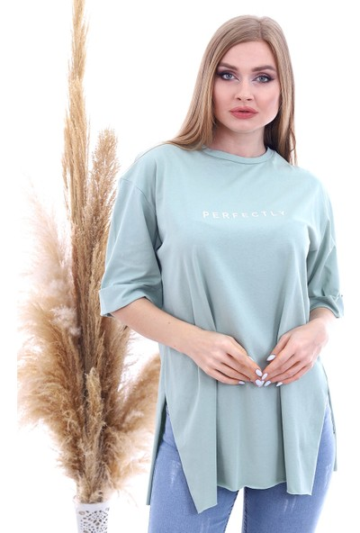 Cotton Mood 9092894 Süprem Perfectly Baskılı Kapri Kol Salash Tshirt Çağla Yeşil