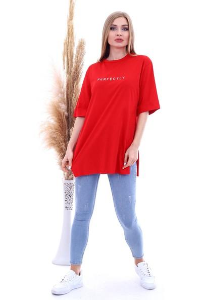 Cotton Mood 9092894 Süprem Perfectly Baskılı Kapri Kol Salash Tshirt Kırmızı