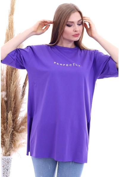 Cotton Mood 9092894 Süprem Perfectly Baskılı Kapri Kol Salash Tshirt Mor