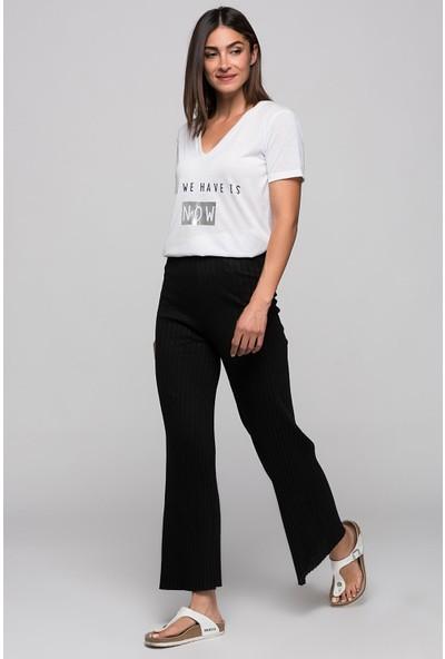 Cotton Mood 9360793 Kalın Fitilli Beli Lastikli Uzun Pantolon Siyah