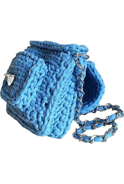 Binbirtrend El Örgüsü Omuz Askılı Kadın El Çantası-Mavi