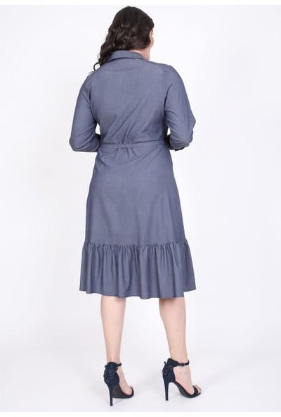 Myline Eteği Fırfırlı Gömlek Elbise 35307