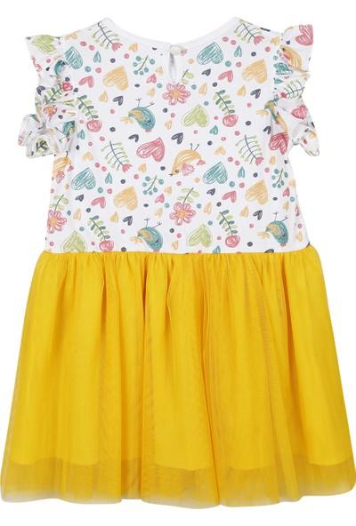 Allyboom Sarı Kuş Baskılı Tüllü Penye Elbise 1 - 2 Yaş
