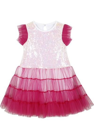 Allyboom Payetli, Tüllü Fuşya Kız Çocuk Doğum Günü Elbisesi 3 - 4 Yaş