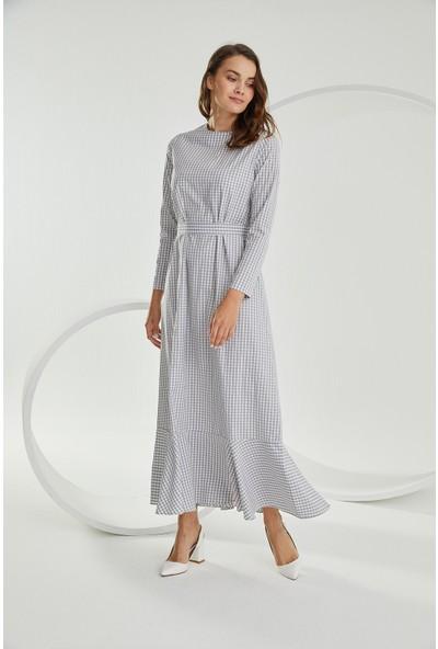 Terzi̇ Dükkanı Kareli Volanlı Elbise Gri