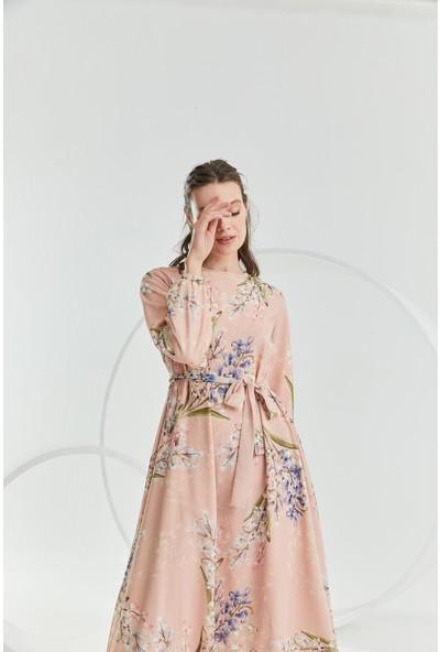 Terzi̇ Dükkanı Pastel Şifon Elbise Çiçekli Somon