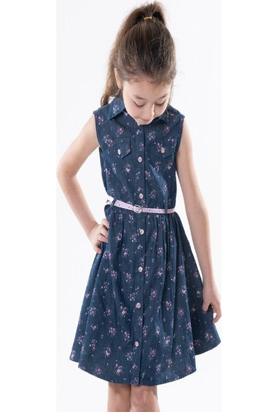 Varol Kids Çiçek Baskılı Kot Elbise Lacivert 18 - 24 Ay
