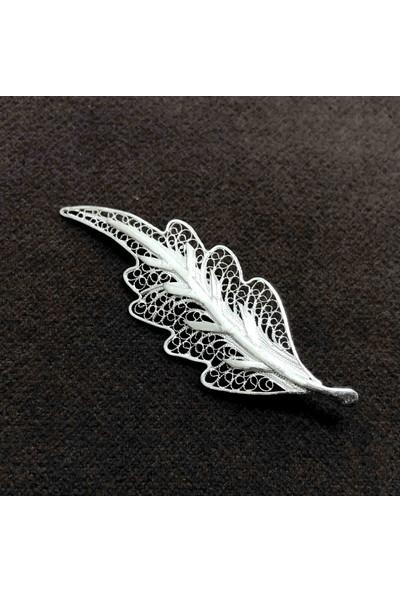 Midyat Nurtaş Gümüş Yaprak Model 925 Ayar Gümüş El Işi Telkari Broş