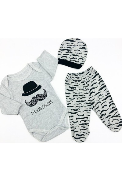 AlpCollection Moustache 3'lü Erkek Bebek Pamuklu Bodyli Set