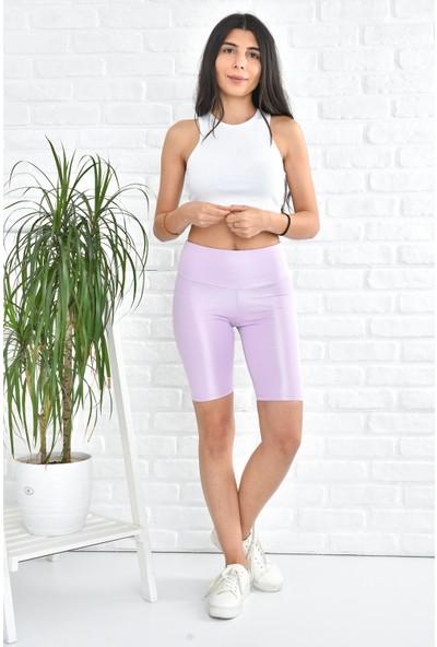 Hera Moda Kadın Lila Biker Uzun Kemerli Disko Şort Tayt