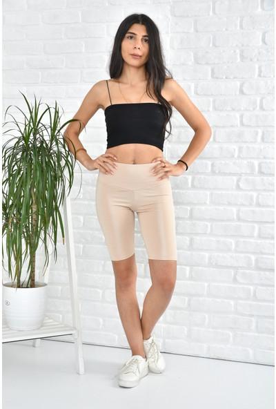 Hera Moda Kadın Krem Biker Uzun Kemerli Disko Şort Tayt