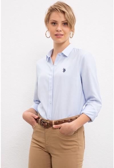 U.S. Polo Assn. Kadın Mavi Gömlek Uzunkol Basic 50231191-VR003