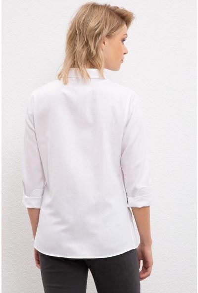 U.S. Polo Assn. Kadın Beyaz Gömlek Uzunkol Basic 50231191-VR013