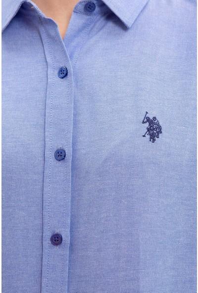 U.S. Polo Assn. Kadın Mavi Gömlek Uzunkol Basic 50231191-VR045