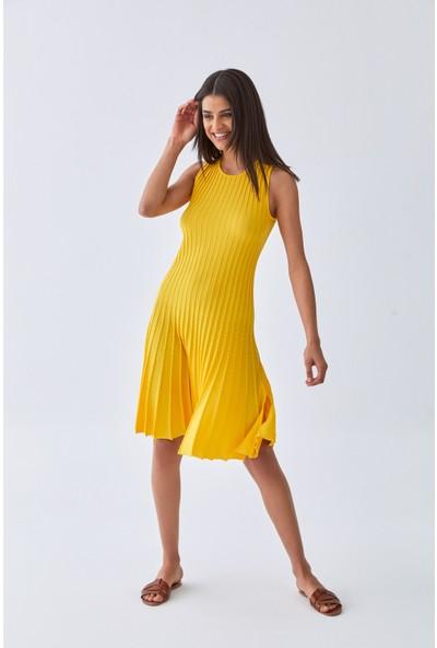 Triko Mısırlı Kadın Elbise W20S A008 El285 Sarı