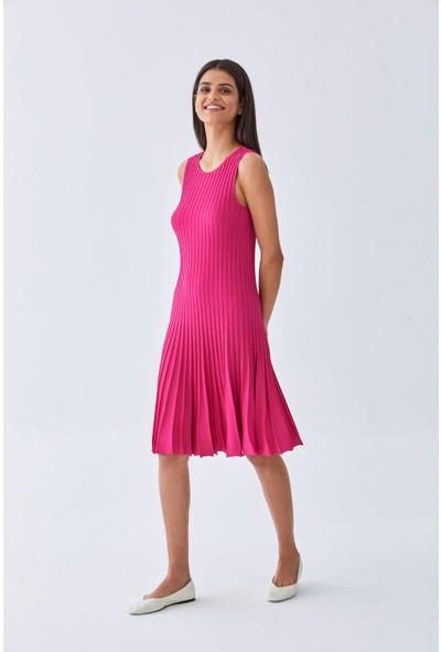 Triko Mısırlı Kadın Elbise W20S A008 Elr34 Fuşya